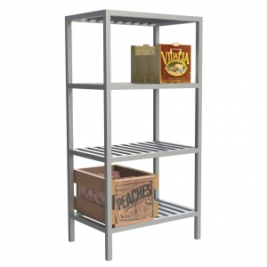 4 Shelf T-Bar Fixed Shelving with Products