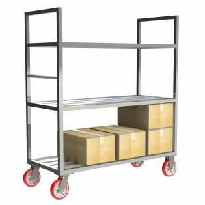 "Mobile Shelving with High Top Sides and 8"" x 2"" Casters"