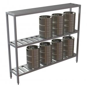 10 Keg Standard Fixed Rack w/Tubular Top Shelf