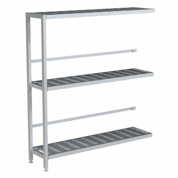"Single Deep 3 Shelf Add-on Unit, Bottom Row Kegs on Shelf 8"" Off Floor"