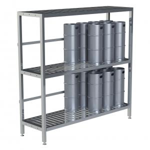 "24"" Deep 3 Shelf Base Unit, Bottom Row Kegs on Shelf 8"" Off Floor"