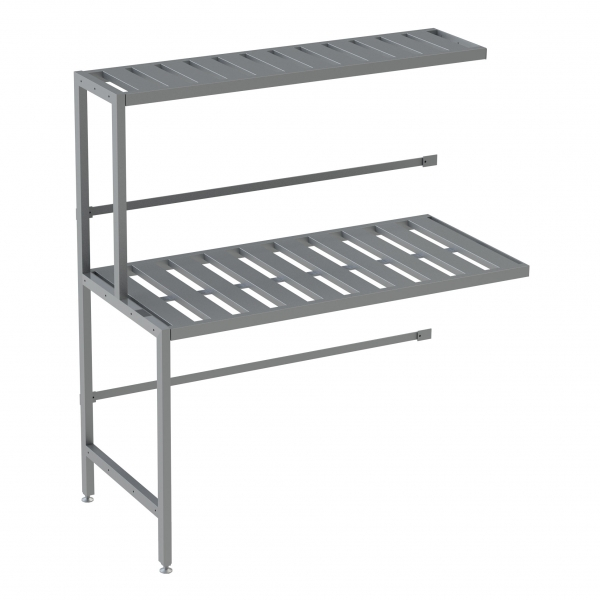 Double Deep 2 Shelf Add-on Unit, Bottom Row Kegs on Floor