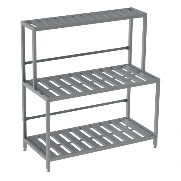 "Double Deep 3 Shelf Base Unit, Bottom Row Kegs on Shelf 8"" Off Floor"