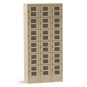 3 Column, Perforated 18 Door Tan Locker