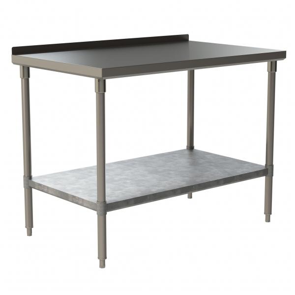 "Standard Duty Work Table with 1.5"" Backsplash and Galvanized Under Shelf"