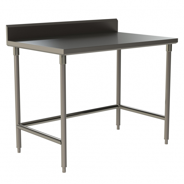 "Standard Duty Work Table with 5"" Backsplash with Open Base and U-Brace"