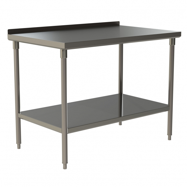 """Standard Duty Work Table with 1.5"""" Backsplash and Stainless Steel Under Shelf"""