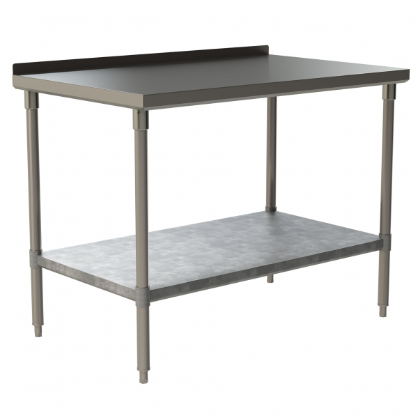"Heavy Duty Work Table with 1.5"" Backsplash and Galvanized Under Shelf"