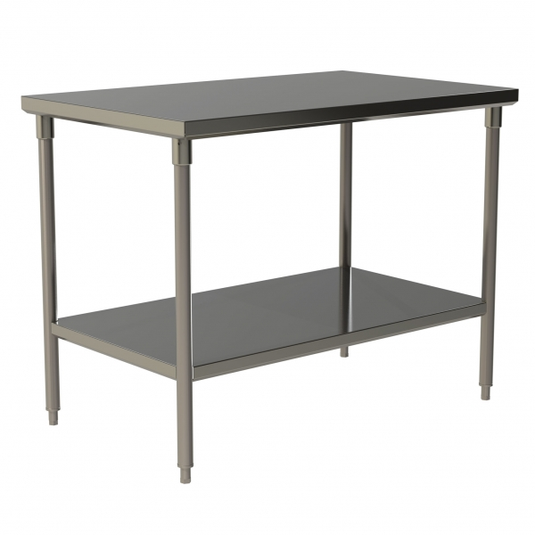 Heavy Duty Flat Top Work Table with Stainless Steel Under Shelf