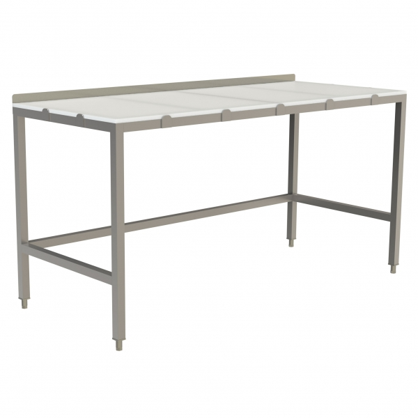 "Poly Top Work Table with 1.5"" Backsplash with Open Base and U-Brace"