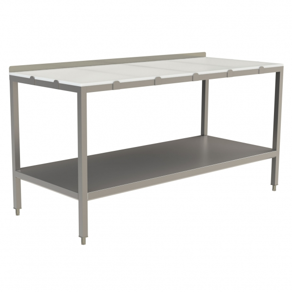 "Poly Top Work Table with 1.5"" Backsplash and Stainless Steel Under Shelf"