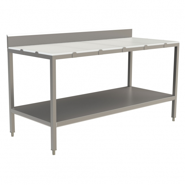 "Poly Top Work Table with 5"" Backsplash with Open Base and U-Brace"