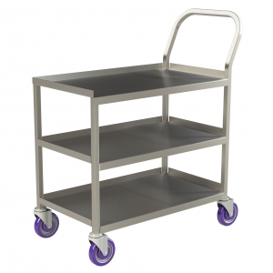 Single Handle 3 Shelf Stainless Steel Utility Cart