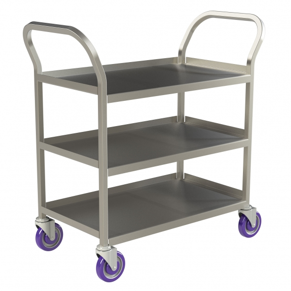 Double Handle 3 Shelf Stainless Steel Utility Cart